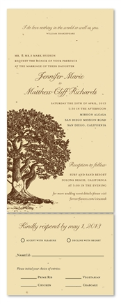 Oak Tree Wedding Invitations | Plantable Paper