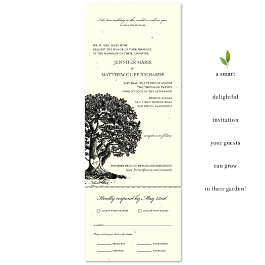 Organic Wedding Invitations - Vieux Oak (plantable paper)