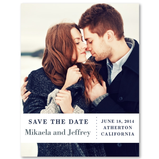 Photo Save the Date for wedding | White Band (100% recycled paper)