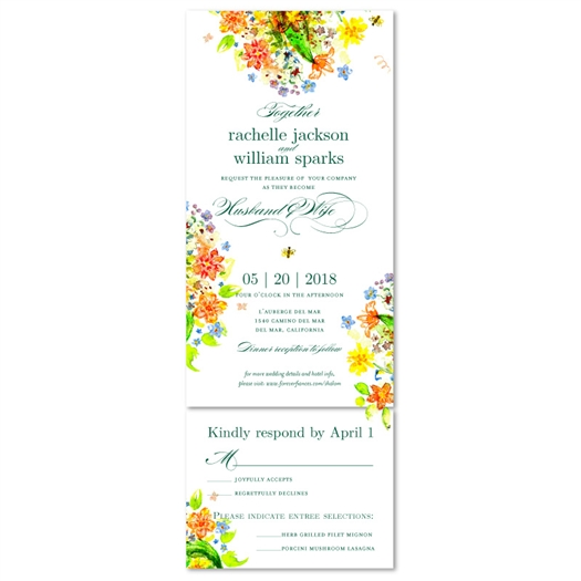 Wildflowers Wedding Invitations | Wild Song with colorful flowers and birds