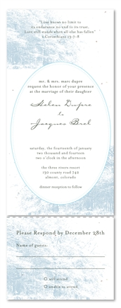All in One Wedding Invitations on White Seeded Paper ~ Winter Forest by ForeverFiances