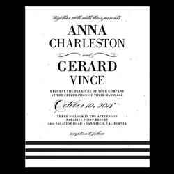 black tie wedding invitations on white seeded paper yours truly - Plantable Wedding Invitations