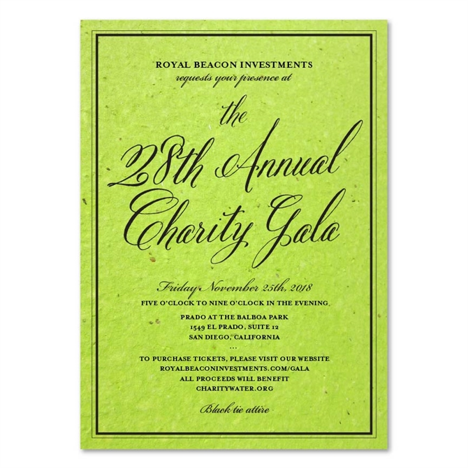 Green Corporate Event Invitations ~ Antique Script By Green