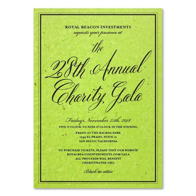 Green Corporate Event Invitations Antique Script By Green