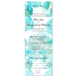 Aqua watercolor Wedding Invitations (100% recycled paper - all in one format)
