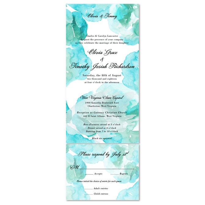 Aqua watercolor Wedding Invitations on 100 recycled paper Aqua Mist