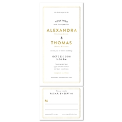 elegant modern invitations | Beverly Hills with a gold border.