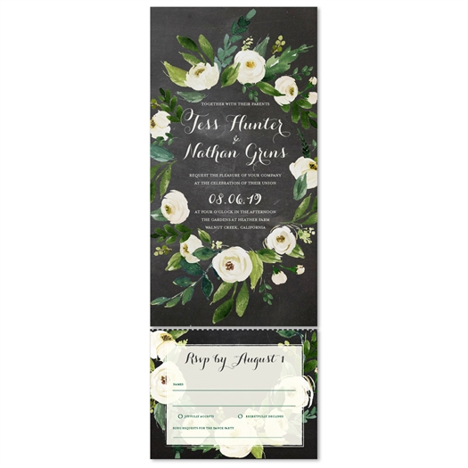 Chalk Floral Wedding Invitations | Pink Blush bouquet (100% recycled chalk paper)