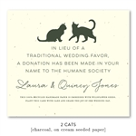 Cats People Wedding Favor Cards on cream and purple seeded paper