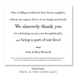 Thank verse Wedding Favors seeded paper  | Complete