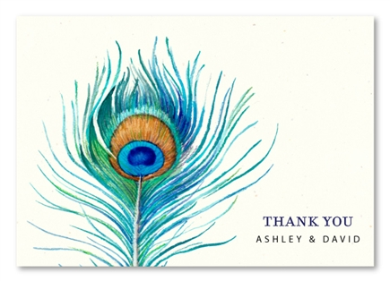 Personalized Peacock Feather Thank you cards by ForeverFiances Weddings