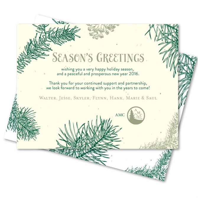 Corporate holiday cards on seeded paper doug fir by green business reheart