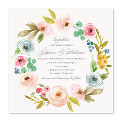 Wildflowers Wreath Wedding Invitations | Elegant Botany ...