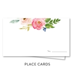 Pink Roses Wedding Place Cards | Elegant Botany