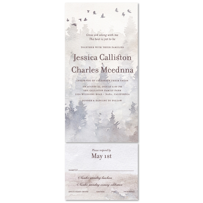 Enchanted Winter Forest Wedding Invitations On Premium Recycled Paper