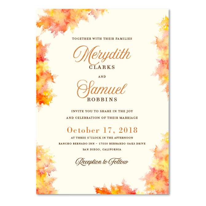 Elegant Fall Color Wedding Inviation: Fall Colors By ForeverFiances