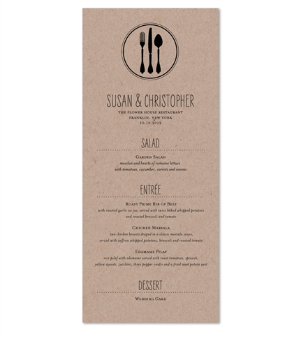 Fork + Knife + Spoon Wedding Menu