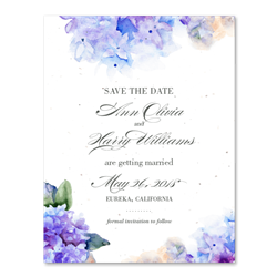 Hydrangea wedding Save the Date Cards | Purple Hydrangea