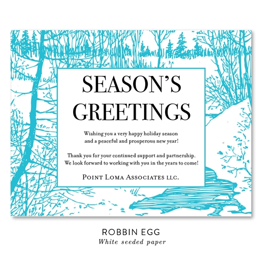 Eco Friendly business holiday cards on seeded paper | Frozen Brook