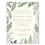 garden spirits wedding invitations with green foliage on seeded paper