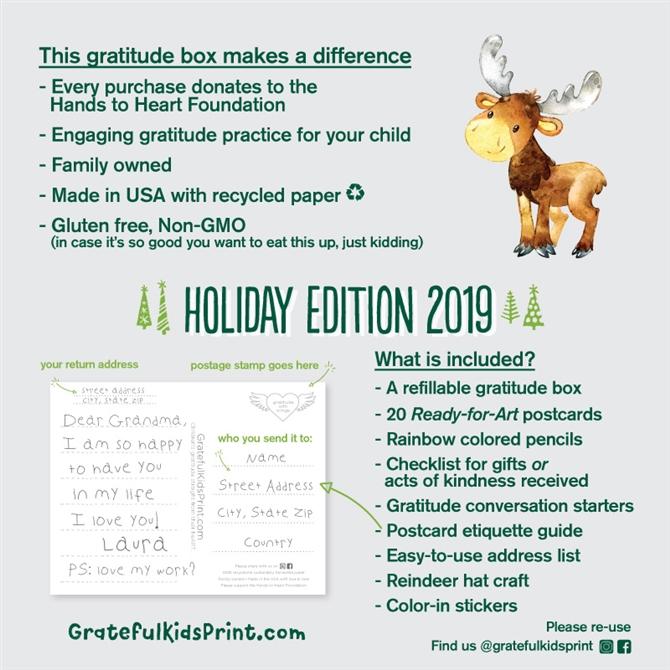Holiday Gratitude Box Ready To Color Postcards Grateful Kids Print