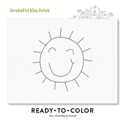 Line Drawing Children thank you cards | Ready to color  (100% recycled paper)  | Grateful Kids Print