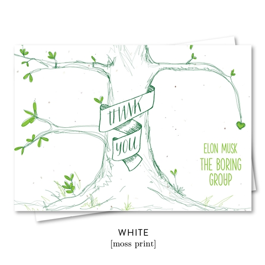 Our Tree Business Thank you Notes with Green print