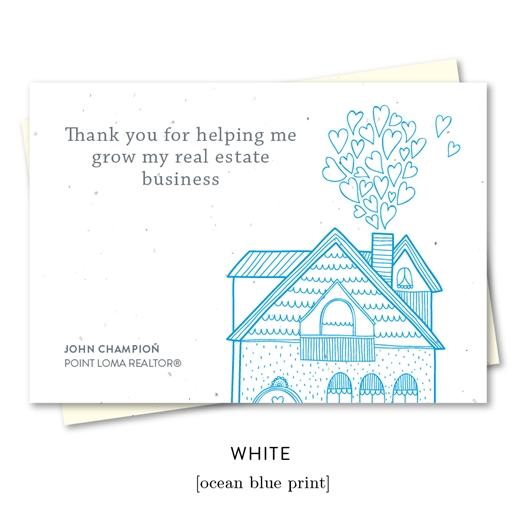 Thank you cards for realtors with house and hearts, great for referral | by Green Business Print