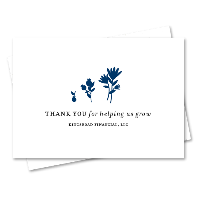 Unique thank you cards on seeded paper for financial advisors grow reheart Gallery