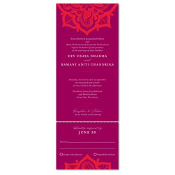 Indian Wedding Invitations ~ Henna Flower (100% recycled paper)