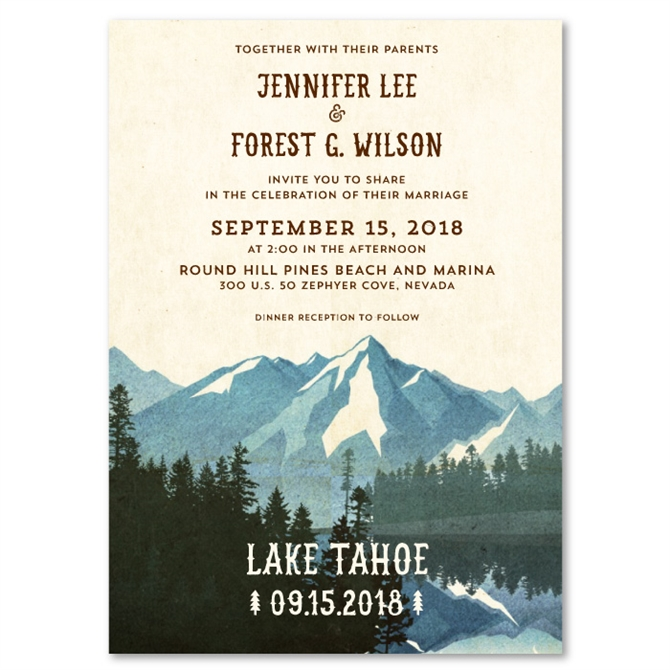 Lake Tahoe Wedding Invitations on Vintage 100 Recycled Paper by