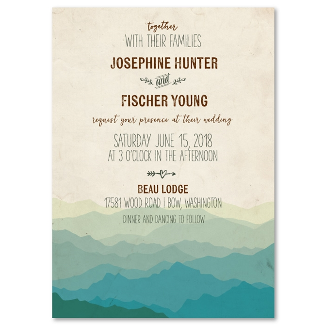 Recycled Wedding Invitations: Mountain Rustic Wedding Invitations On Vintage 100