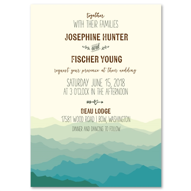 Country Wedding Digital Print or Printed Invite with FREE SHIP Mountain Meadow Rustic Wedding Invitation Rustic Wedding Wedding