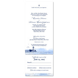 Unique Wedding Invitations ~ New England Lighthouse (100% recycled paper)