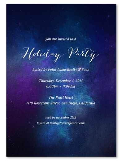 Corporate Holiday Party Invitations | Night Sky