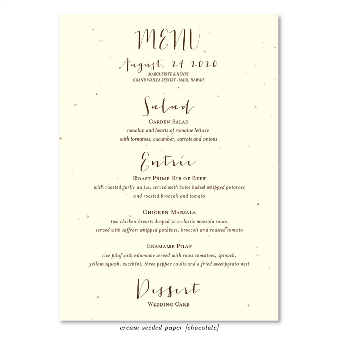 Unique Wedding Menus on Seeded Paper ~ Organic by ForeverFiances
