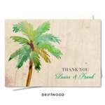 Palm Tree Thank you cards | Paradise Island on Driftwood paper by ForeverFiances Weddings