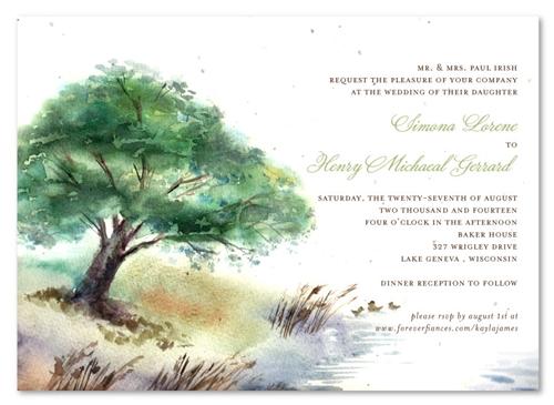 Lake Wedding Invitations On Seeded Paper