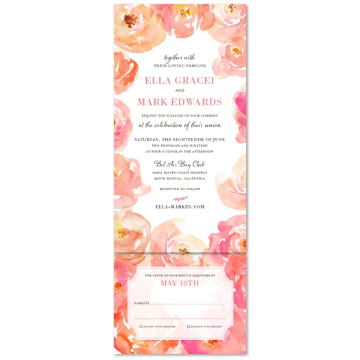 pink peony Wedding Invitations watercolor