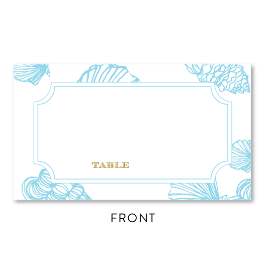 Sea Shell Wedding Place Cards in ocean blue