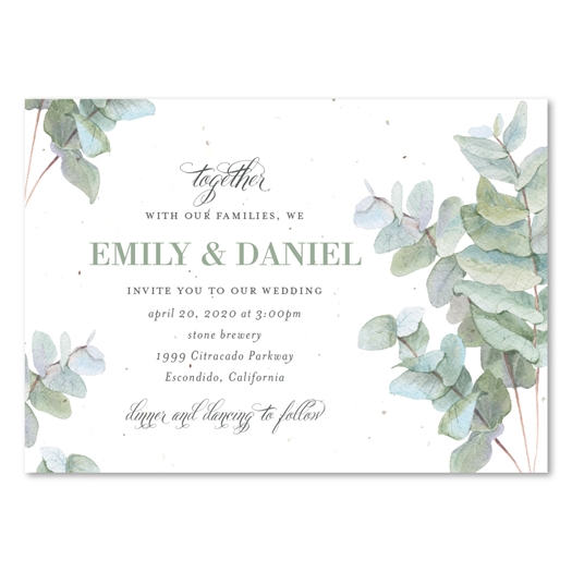 Eucalyptus tree Wedding Invitations | Sophisticated Greenery with Teal and green leaves