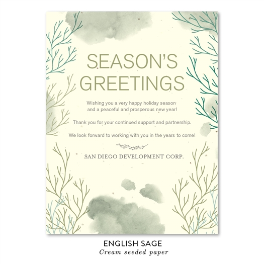 Beach Inspired Corporate Holiday Cards | South Coast with English Sage green