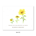 Sunflower Business thank you cards | Sunflower Growth on white seeded paper