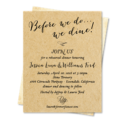 Rustic Kraft Rehearsal dinner cards with vintage brown paper