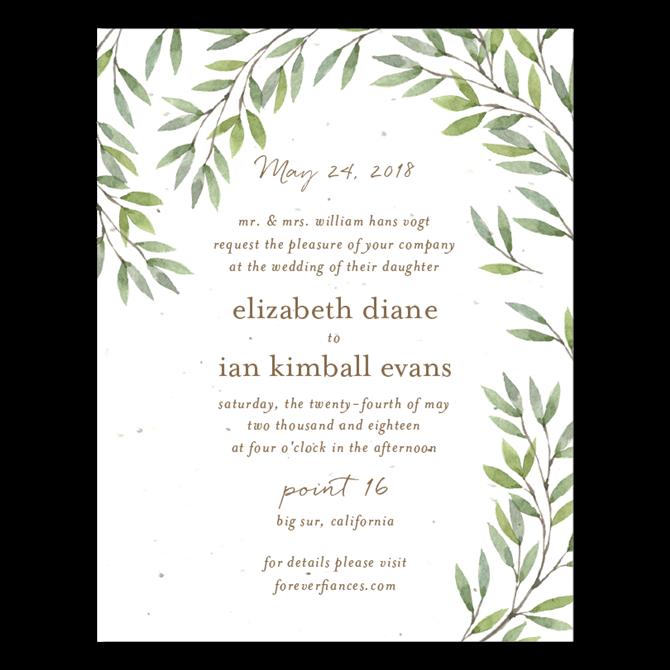 California Wild Coast Wedding Invitations On Seeded Papers