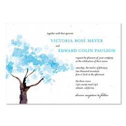 Watercolor Wedding Invitation on plantable paper ~ Winter Blooms by ForeverFiances Weddings (Purple ,Plum)