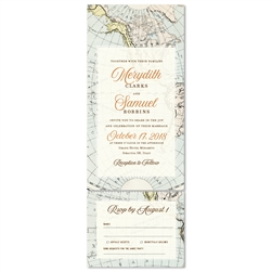 World Map Wedding Invitations send n sealed