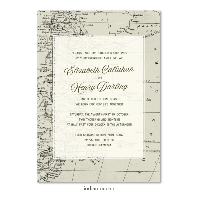 World Map Wedding Invitations on Vintage 100 Recycled Paper by