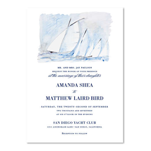 San Diego Yacht Club Wedding Invitations | Point Loma