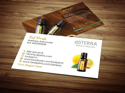 Lemon doTERRA business card design, lemon essential oil cards, lemon doterra, doterra moo